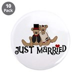 "Wedding Bears Just Married 3.5"" Button (10 pack)"
