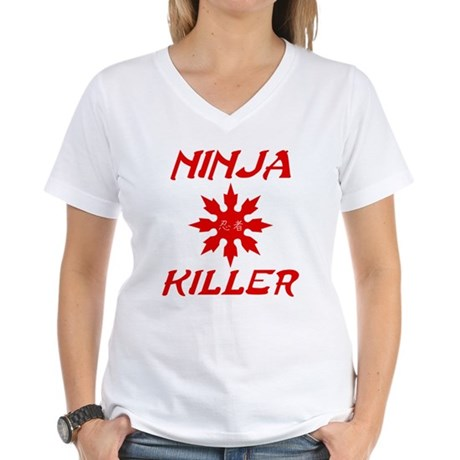 Ninja Killer Womens V-Neck T-Shirt