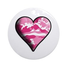 Pink Camo Solid Valentine Heart Ornament (Round)