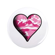 "Pink Camo Solid Valentine Heart 3.5"" Button (100 p"