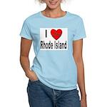 I Love Rhode Island (Front) Women's Pink T-Shirt