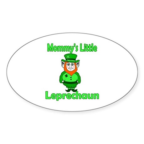 Mommy's Little Leprechaun Oval Sticker