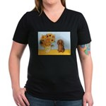 Sunflowers - Doxie (LH,S) Women's V-Neck Dark T-Sh
