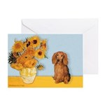 Sunflowers - Doxie (LH,S) Greeting Card