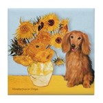Sunflowers - Doxie (LH,S) Tile Coaster