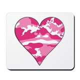 Pink Camo 2D Valentine Heart Mousepad
