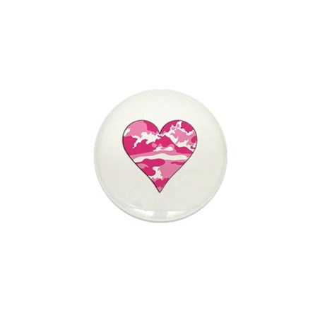 Pink Camo 2D Valentine Heart Mini Button (10 pack)