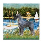 PS G. Schnauzer & Sailboats Tile Coaster