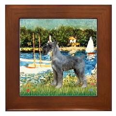 PS G. Schnauzer & Sailboats Framed Tile