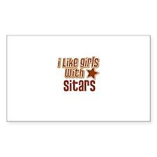 I Like Girls with Sitars Rectangle Decal