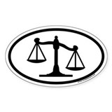 Scales of Justice Legal Oval Decal