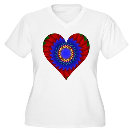 Kaleidoscope Heart Women's Plus Size V-Neck T-Shir