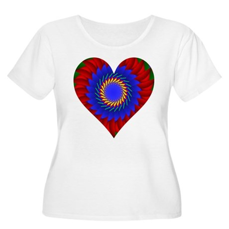 Kaleidoscope Heart Women's Plus Size Scoop Neck T-