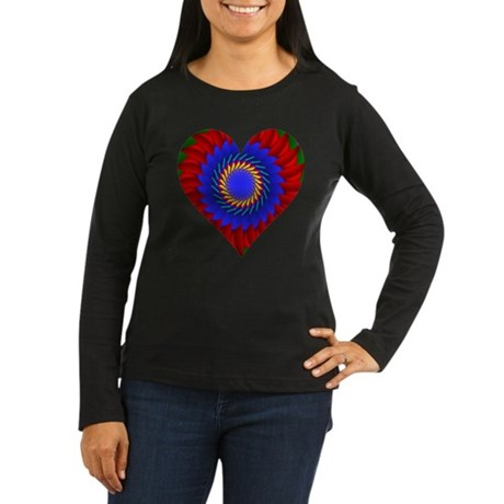 Kaleidoscope Heart Women's Long Sleeve Dark T-Shir