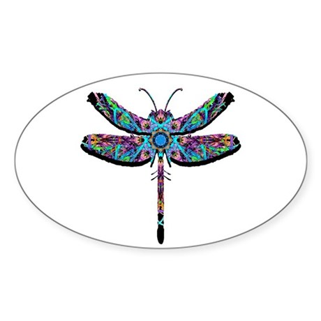 Dragonfly Oval Sticker