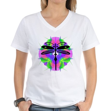 Kaleidoscope Dragonfly Women's V-Neck T-Shirt