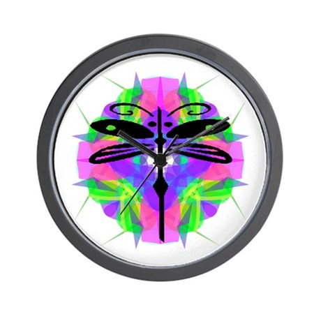 Kaleidoscope Dragonfly Wall Clock