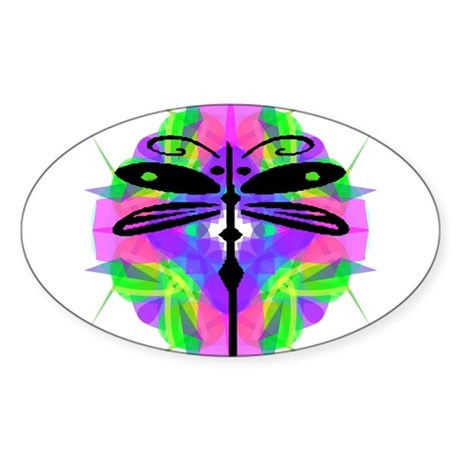 Kaleidoscope Dragonfly Oval Sticker