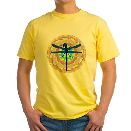 Kaleidoscope Dragonfly Yellow T-Shirt