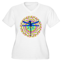 Kaleidoscope Dragonfly Women's Plus Size V-Neck T-