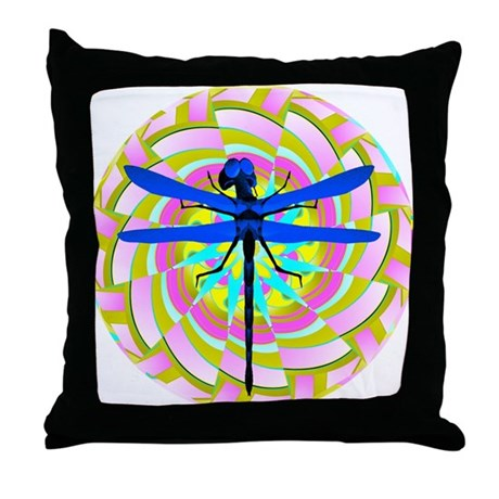 Kaleidoscope Dragonfly Throw Pillow
