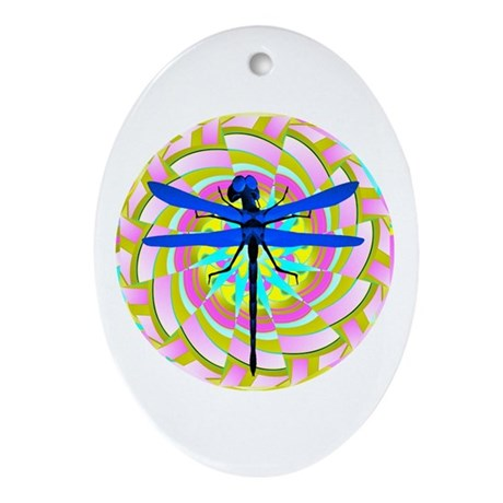 Kaleidoscope Dragonfly Oval Ornament