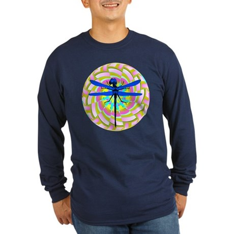 Kaleidoscope Dragonfly Long Sleeve Dark T-Shirt