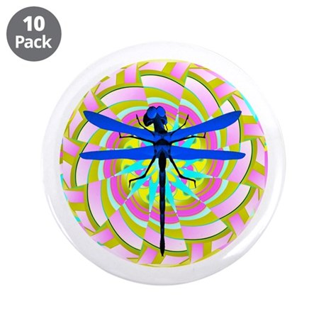 "Kaleidoscope Dragonfly 3.5"" Button (10 pack)"