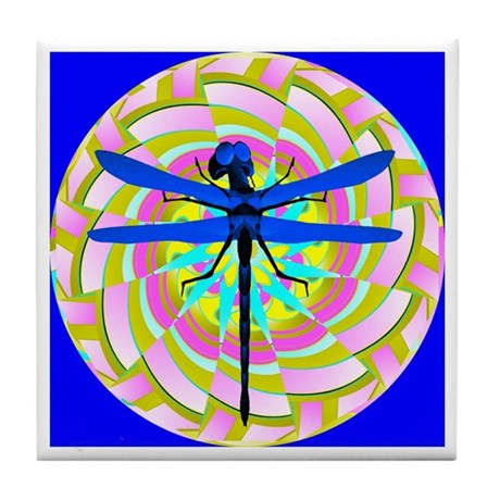 Kaleidoscope Dragonfly Tile Coaster