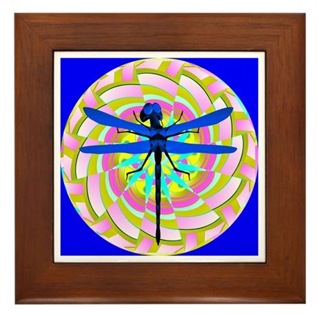 Kaleidoscope Dragonfly Framed Tile