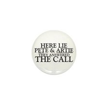 """Here Lie Pete & Artie"" Mini Button"