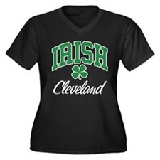 Cleveland Irish Women's Plus Size V-Neck Dark T-Sh