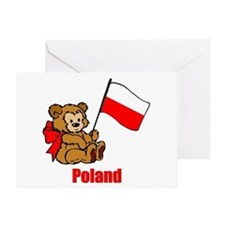 Poland Teddy Bear Greeting Card
