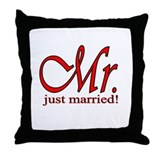 His & Her Just Married Throw Pillow