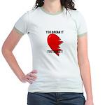 love hurts on back Jr. Ringer T-Shirt