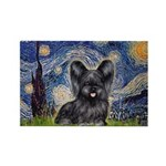 Starry / Black Skye Terrier Rectangle Magnet (10 p