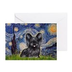 Starry / Black Skye Terrier Greeting Cards (Pk of