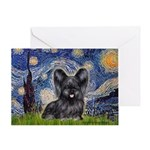 Starry / Black Skye Terrier Greeting Card