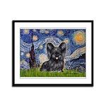 Starry / Black Skye Terrier Framed Panel Print