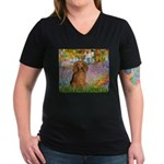 Garden -Dachshund (LH-Sable) Women's V-Neck Dark T