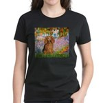 Garden -Dachshund (LH-Sable) Women's Dark T-Shirt