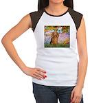 Garden -Dachshund (LH-Sable) Women's Cap Sleeve T-