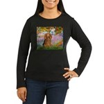 Garden -Dachshund (LH-Sable) Women's Long Sleeve D