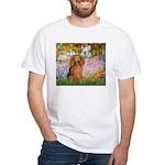 Garden -Dachshund (LH-Sable) White T-Shirt