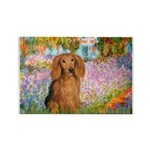 Garden -Dachshund (LH-Sable) Rectangle Magnet