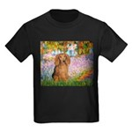 Garden -Dachshund (LH-Sable) Kids Dark T-Shirt