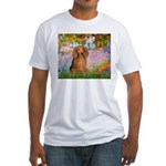Garden -Dachshund (LH-Sable) Fitted T-Shirt