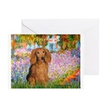 Garden -Dachshund (LH-Sable) Greeting Cards (Pk of