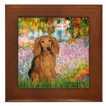 Garden -Dachshund (LH-Sable) Framed Tile