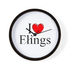 """""""I Love (Heart) Flings"""" Wall Clock"""